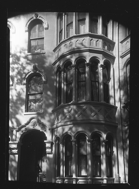 [Detail of Doorway and Two-Story Bay Windows of Italianate Revival Town House, South End, Boston, Massachusetts]