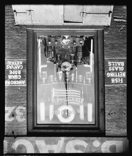 [Boat Reflection in B. Sack & Son Marine Supply Store Window on Waterfront, New York City]