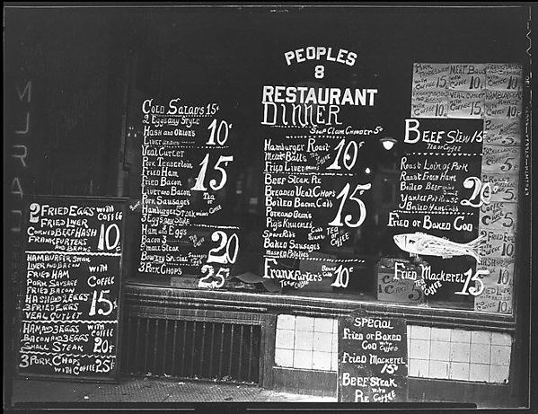 [Lunchroom Window on the Bowery, People's Restaurant, New York City]