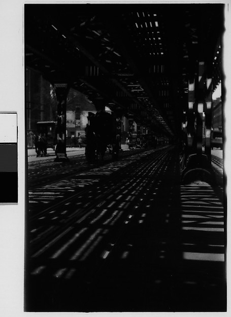 [Street Scene Beneath Elevated Train Tracks, New York City]