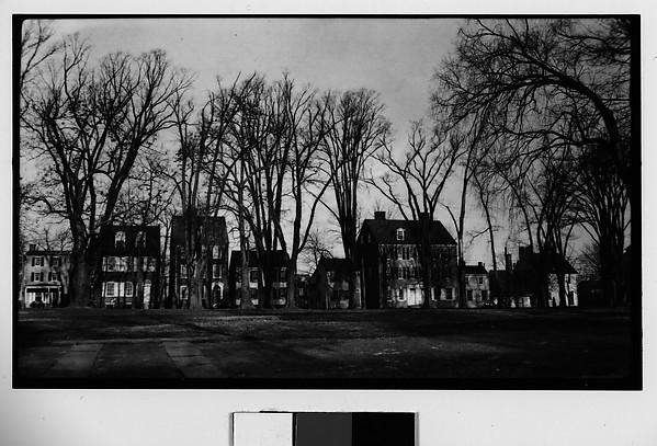 [Row of Houses on Tree-Lined Street, Seen from Across Park, Possibly Newcastle, Delaware]