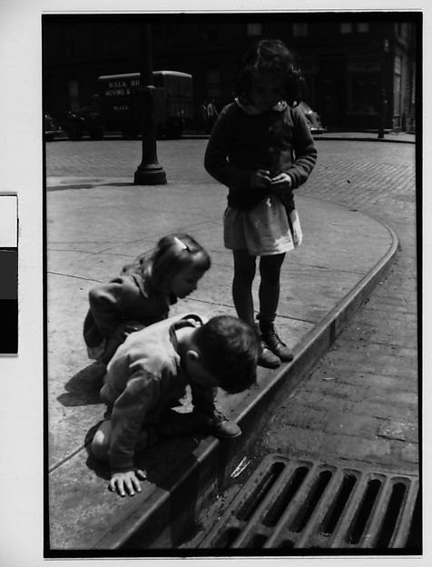 [Children Playing on Sidewalk Next to Gutter Grating, New York City]