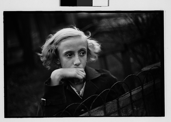 [Girl Leaning on Wire Fence in Yard, Vicinity Bethlehem, Pennsylvania]