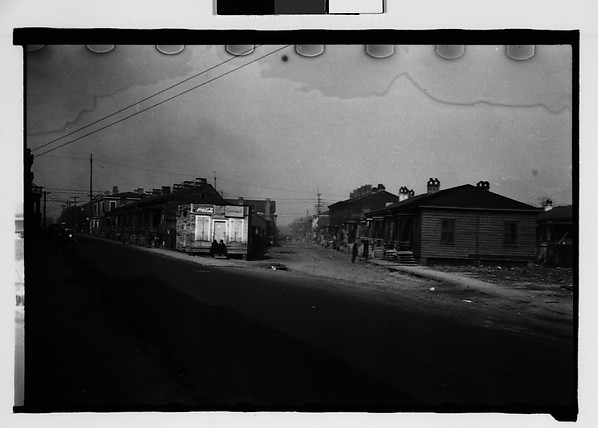[Fork in Road with Two Rows of Wooden Shacks, Augusta, Georgia]