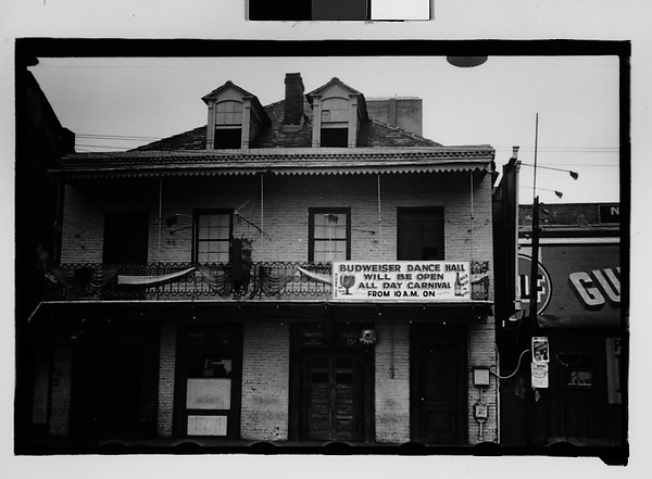 [Brick Building with Dancehall Sign on Cast-Iron Balcony, New Orleans, Louisiana]