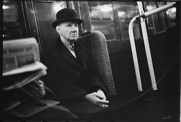 [Subway Passenger, New York City: Man in Bowler Hat]