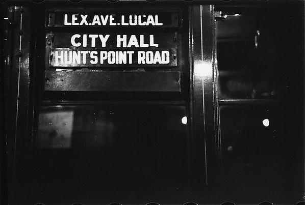 "[""Lex Ave Local"" Sign in Subway Car, New York City]"