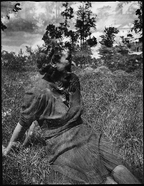 [Double Exposure: Unidentified Woman on Lawn]
