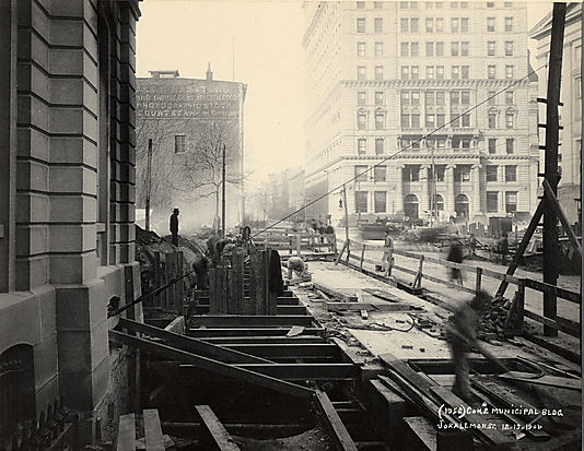 [Interborough Rapid Transit (IRT) Construction, Joralemon Street Looking East Towards Court Street with Municipal Building in Foreground, Brooklyn, New York]