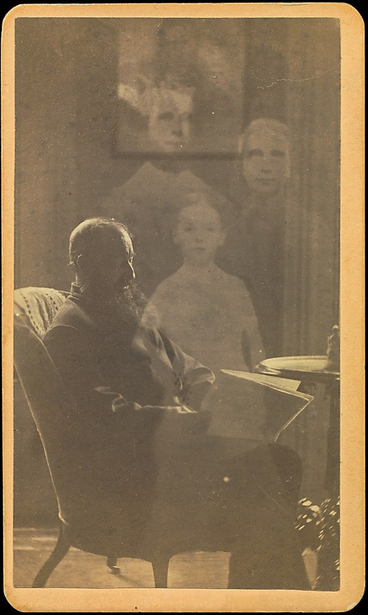 [Unidentified Man Seated with Three Spirits]