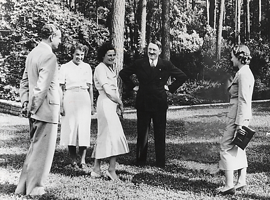 [Heinz Riefenstahl, Dr. Ebersberg, Leni Riefenstahl, Adolf Hitler, and  Ilse Riefenstahl (Wife of Heinz) Visiting Leni Riefenstahl's New Villa in Dahlem, Berlin]