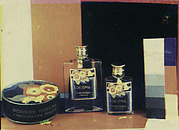 [Advertising Still-Life of Diosma Powder Box and 2 Perfume Bottles for F. Prochaska, Prague, with Color Bar, Grey Scale]