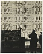 "[Newsstand and Figures before Theater Posters Advertising the Musical ""Lollipop""]"