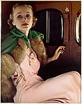 [Advertisement for Chevrolet: Woman in Evening Gown Sitting in a Car]