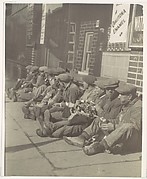 [Workers Eating Lunch, Seated on Sidewalk, New York]