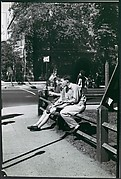 """[Three Young Men Seated on Fence, Yale University Campus, New Haven, Connecticut, Possibly for Unpublished Fortune Portfolio """"The Clothes""""]"""