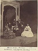 [Portrait of Three Women and Men in a Garden]
