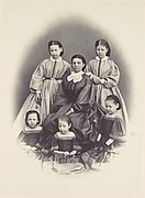 [Portrait of a Seated Woman Surrounded by Five Girls, Seated and Standing]