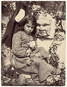 [Young Girl in Checked Dress with Roses, Sicily, Italy]