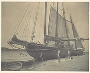 [Ships on a Beach with Two Long Boats and Two Men Sweeping]