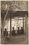 [Four Women Under a Shelter Viewing a Waterfall]