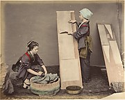 [Two Japanese Women Posing with Laundry]