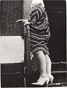 [Street Scene: Woman in Striped Dress on Stoop, New York City]