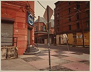 [Red Corner Building with Checkerboard Sidewalk, New York City]