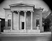 """[Greek Revival Building with """"SIGNS"""" Painted on Façade, Natchez, Mississippi]"""