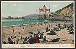 Cliff House, Beach and Seal Rocks, Showing Holiday Crowd on Beach, San Francisco