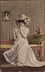 [untitled--lady on pink settee wearing large bonnet]