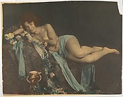 [Nude Draped with Cloth Surrounded by Flowers]