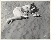 [Beach Scene: Woman in White Dress Asleep on Sand, Coney Island, New York]