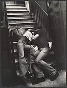 [Street Scene: Couple Kissing on Building Steps, New York City