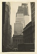 [View of Wall and Broad Streets, with the J. P. Morgan & Company Building,  the U.S. Customs House, and New Building Construction, New York City]