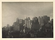 [Manhattan Skyline seen from the Span of the Brooklyn Bridge, New York City]
