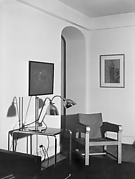 [Interior of Cary Ross' Apartment Showing Modernist Lamps on Table, New York City]