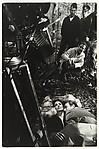 """[Anouk Aimée, Yves Montand, and André Delvaux on the Set of """"Un Soir, un Train""""]"""