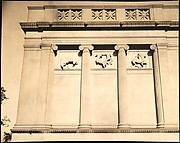"[Façade Detail of Greek Revival Building with Equestrian Relief Sculpture, for Fortune Portfolio: ""Chicago: A Camera Exploration""]"