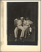[Paul and Dorothy Grotz Seated Outdoors on Wooden Bench, Probably Darien, Connecticut]