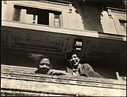 [Jane Ninas and Christine Fairchild on Balcony, Belle Grove Plantation House, White Castle, Louisiana]