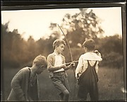 [Blair Fuller Holding Bow and Arrow, Cornish, New Hampshire]