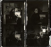 [Cut Contact Sheet of Four 120mm Negatives: Jane Smith Evans (3) and Billie Voorhees (1) in Walker Evans's Apartment at 441 East 92nd Street, New York City]