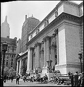 [68 Views of New York Public Library on Fifth Avenue, Bryant Park, and Studies of Reading Room, Stacks, Rare Book Room, and Readers, Possibly Commissioned for Unpublished Vogue Article, 1949, Including Four Portraits of Jane Smith Evans]