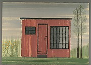 [Red Building in Field]