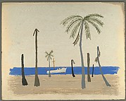 [Boat with Palm Trees on Shore]