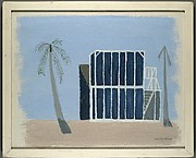 [House with Gridded Panel and Palm Trees]