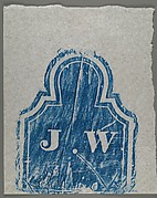 "[Gravestone Rubbing: ""J. W."" in Blue]"