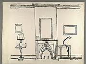 [Photocopy of Line Drawing of Interior with Fireplace]