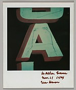 """[Detail of Sign Lettering: """"A""""]"""